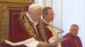 The moment that Benedict XVI announced his resignation  (February 11, 2013).