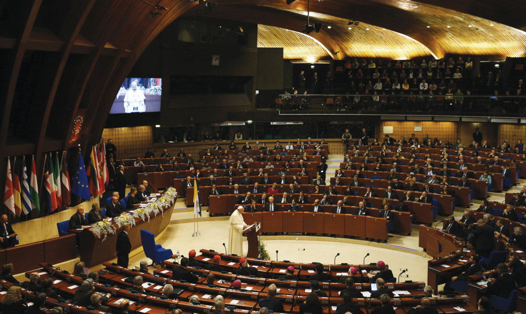 Pope Francis addresses the Council of Europe in Strasbourg, France, November 25.