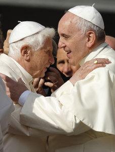 Pope Emeritus Benedeict XVI and Pope Francis.