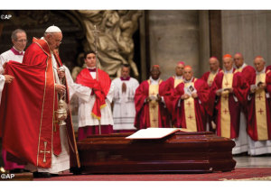 Pope Francis at the Cardinal's funeral.