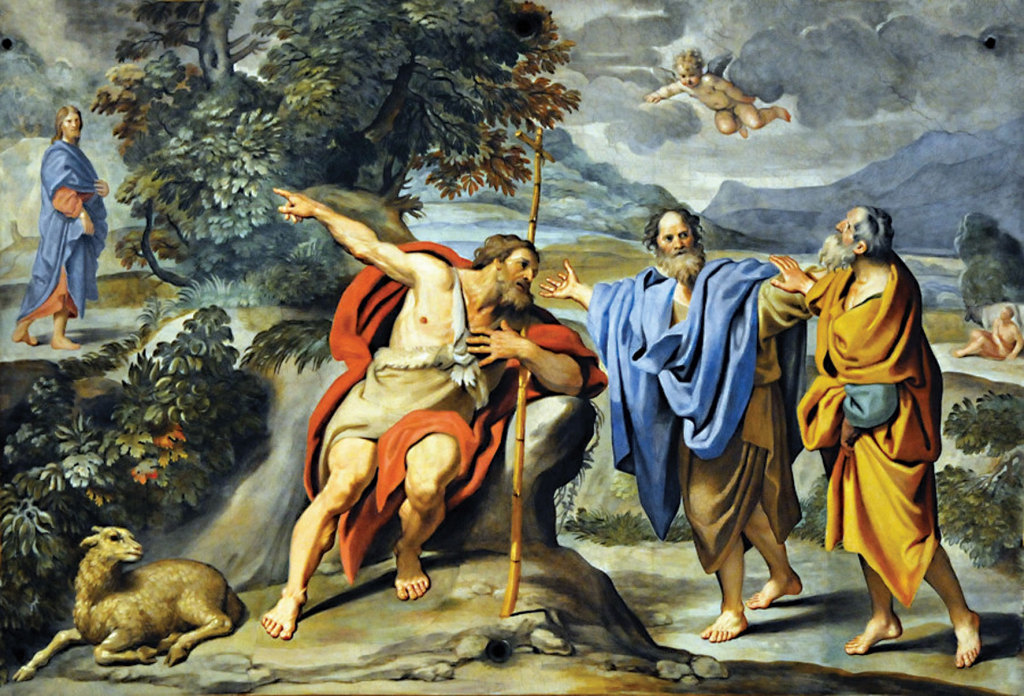 St. John the Baptist Indicates Jesus to Sts. Andrew and John, by Domenichino, Rome, Church of Sant' Andrea della Valle.