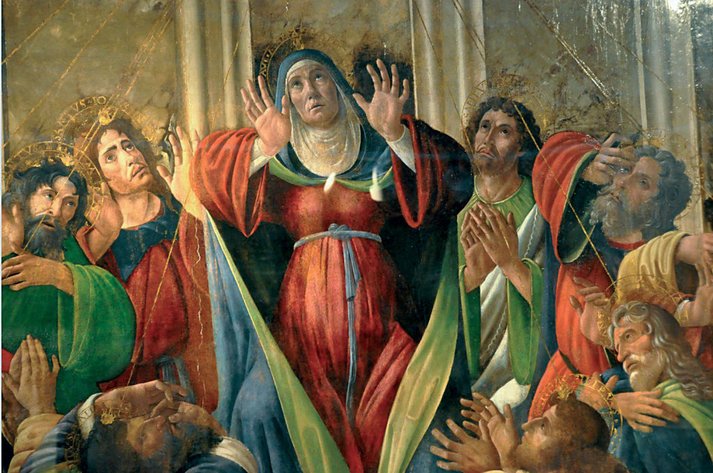 """Pentecost by Sandro Botticelli. """"They were all filled with the Holy Spirit and began to speak in other tongues, as the Spirit gave them to express themselves""""."""