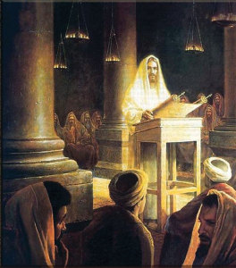 confessional. Above. Christ expounds on a biblical passage  from the Prophet Isaiah