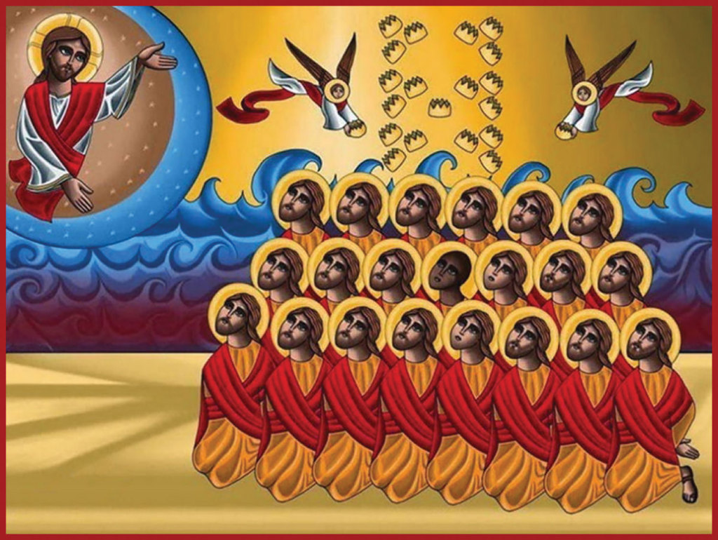 21 New Martyrs of Egypt, icon in the Coptic style by iconographer Tony Rzek
