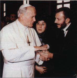 1980, John Paul with  Kiko Argüello, founder of the Neocatechumenal Way.