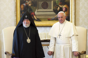 The Catholicos Karekin II of Etchmiadzin, patriarch of the Armenian Apostolic Church, with Pope Francis during a meeting at the Vatican on May 8, 2014.