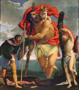 St. Christopher Carrying Baby Jesus between Sts. Roch and Sebastian.