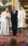 Pope Francis, King Philippe and Queen Mathilde.
