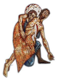 The Good Samaritan in a mosaic by Jesuit artist Marco Rupnik