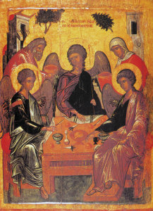 Hospitality of Abraham and Sarah:  the visit of the three angels