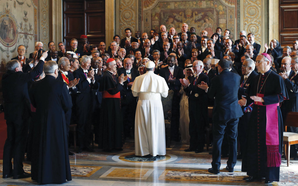 Pope Francis greets diplomats during an audience with the Vatican diplomatic corps in the Apostolic Palace's Sala Regia,  March 22, 2013 (CNS photo/ Tony Gentile, Reuters).