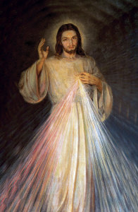 The image of the Divine Mercy as Jesus appeared to Sister Faustina Kowalska in 1931