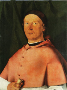 The portrait of Lotto's first patron, Bishop Bernardo de Rossi.