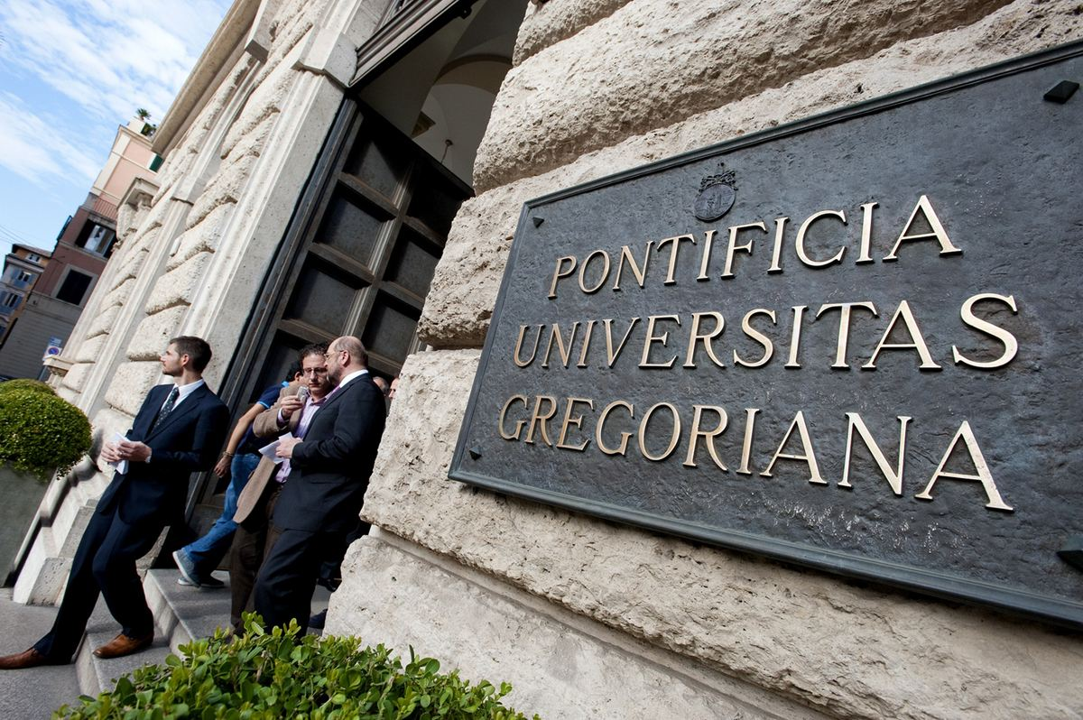 The main entrance of the Gregorian University in Rome where the  May 25 secret meeting was held
