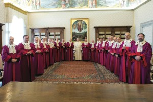 Pope Francis with the judges of the Sacred Rota