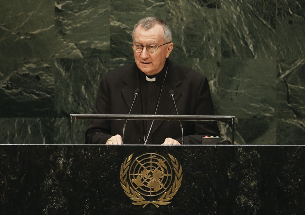 In conjunction with the UN Climate Summit in September 2014, Cardinal Pietro Parolin, the Vatican's Secretary of State, addressed the 69th UN General Assembly in New York on September 29 (CNS photo/Mike Segar, Reuters)