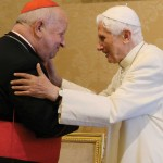 "July 4, 2015, Castel Gandolfo, Italy. Pope Emeritus Benedict XVI receives an award from the Academy of Music and the Pontifical University ""John Paul II"" of Krakow, Poland. Cardinal Stanislaw Dziwisz of Krakow here embraces the former pontiff (Galazka photo)"