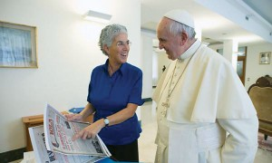 The Pope with Aura Miguel.