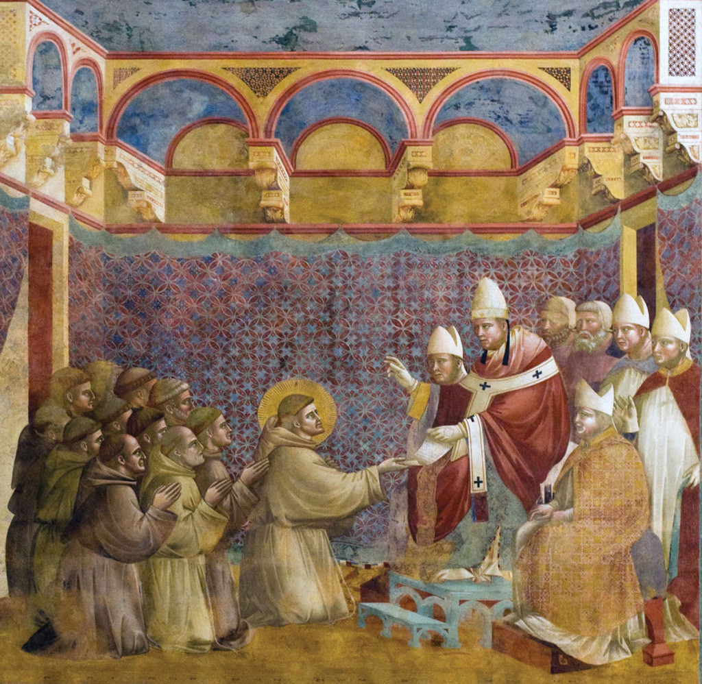 Fresco by Giotto depicts Pope Innocent III giving approval to the first Franciscan rule and blessing St. Francis and his followers during their visit to Rome in 1209-1210.