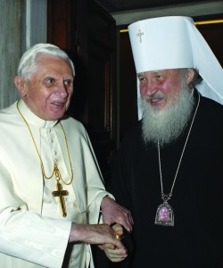 Pope Benedict XVI greets Russian Orthodox Metropolitan Kirill before a meeting at the Vatican Dec. 7. The pope and Metropolitan Kirill, head of the Moscow Patriarchate's office for external relations, held a rare meeting in a bid to improve often-strained relations. (CNS photo/L'Osservatore Romano via Reuters) (Dec. 10, 2007) See POPE-KIRILL Dec. 7, 2007.