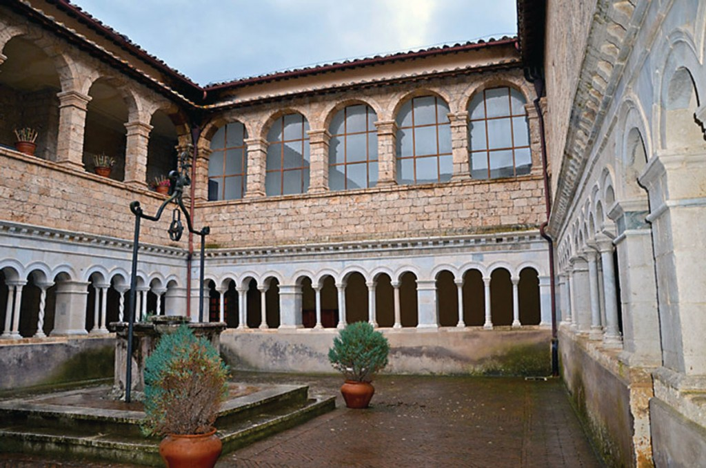The cloister of St. Scholastica.