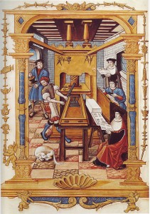 An illustration of an early printer's workshop.