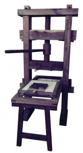 A model of an early printing press