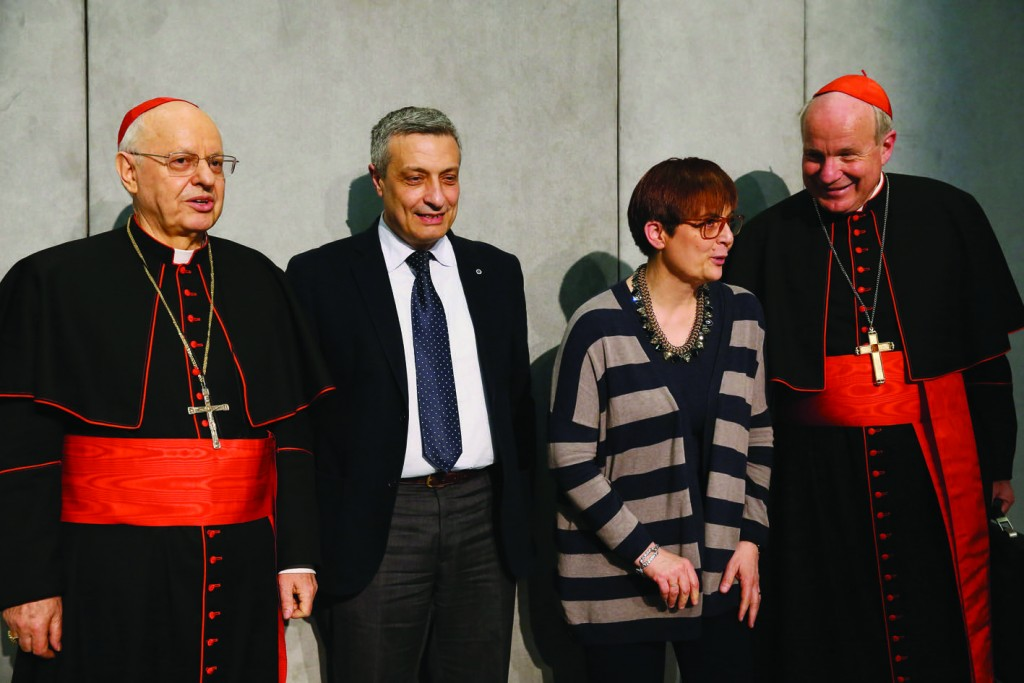 "8/04/2016 Vatican City. Press conference presenting Pope Francis' Post-Synodal Apostolic Exhortation ""Amoris laetitia"", on love in the family, in the Holy See Press Office. Cardinal Lorenzo Baldisseri, Secretary General of the Synod of Bishops; the spouses Prof. Francesco Miano, Professor of Moral Philosophy at the University of Rome Tor Vergata, and Prof. Giuseppina De Simone in Miano, Professor of Philosophy at the Theological Faculty of Southern Italy of Naples, and Cardinal Christoph Schonborn O.P., Archbishop of Vienna. Photo Grzegorz Galazka."