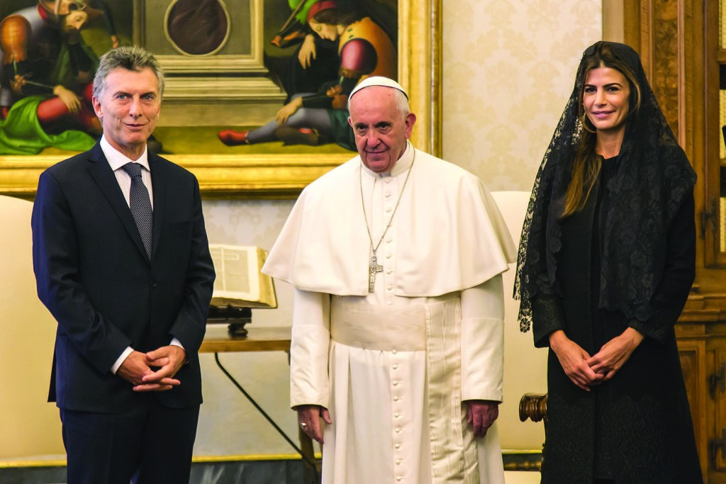 27/02/2016 Vatican City. Pope Francis meets the President of the Argentine Republic Mauricio Macri in the Private Library of the Apostolic Palace.