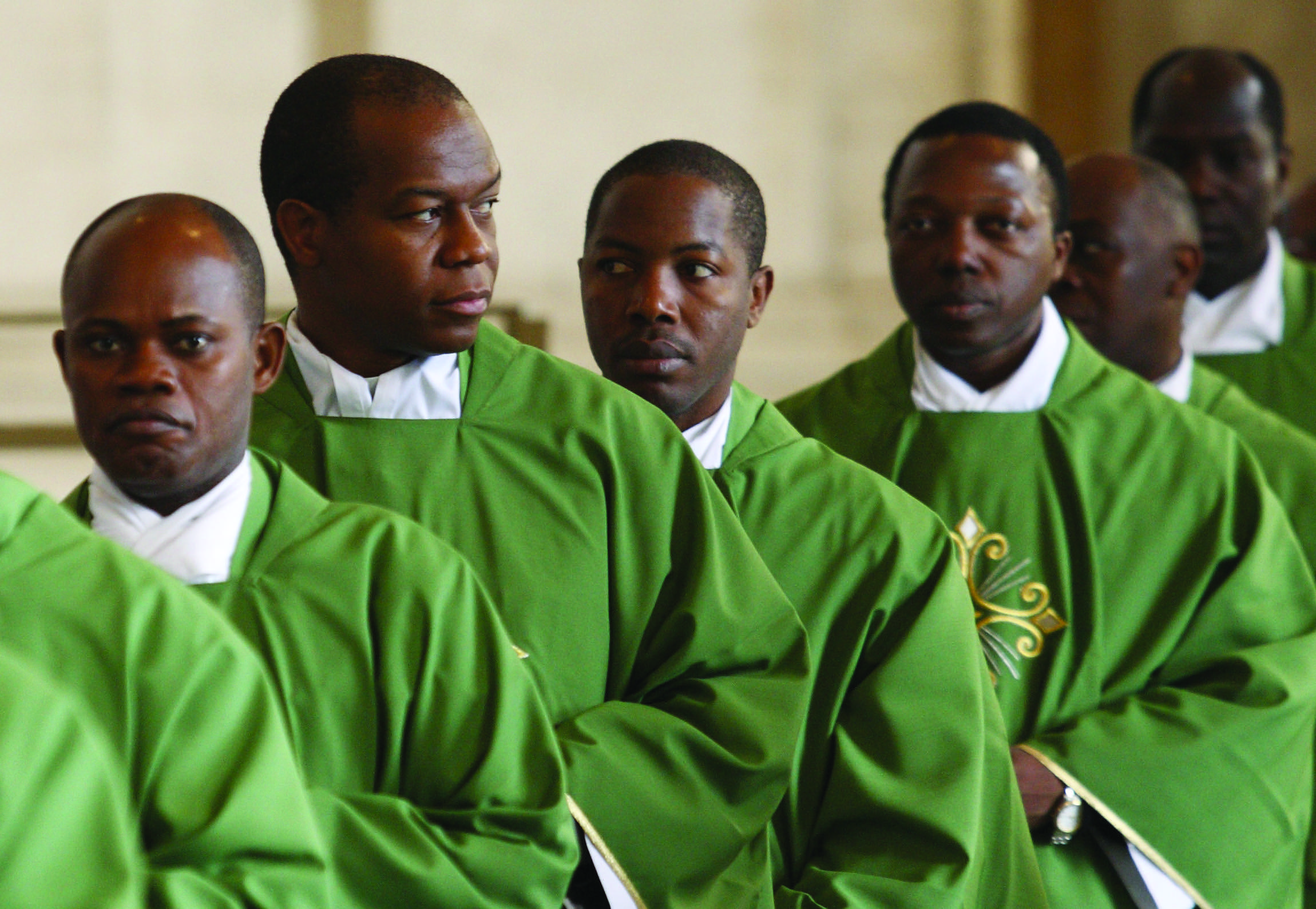 Clergy process at the start of the closing Mass of the Synod of Bishops for Africa in St. Peter's Basilica at the Vatican Oct. 25. (CNS photo/Paul Haring) (Oct. 26, 2009) See SYNOD-CLOSE Oct. 26, 2009.