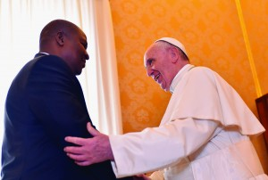 18/04/2016 Vatican City. Pope Francis meets the President of the Central African Republic Faustin-Archange Touadéra in the Private Library of the Apostolic Palace.