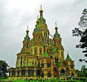 Saints Peter and Paul Cathedral at Peterhof, Russia.