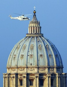 A helicopter carrying Pope Benedict XVI takes off from inside the Vatican on its way to the to the papal summer residence at Castel Gandolfo, Italy, Feb. 28, 2013, the final day of his papacy. (CNS photo/Stefano Rellandini, Reuters) (Feb. 28, 2013) See BENEDICT-FAREWELL Feb. 28, 2013.
