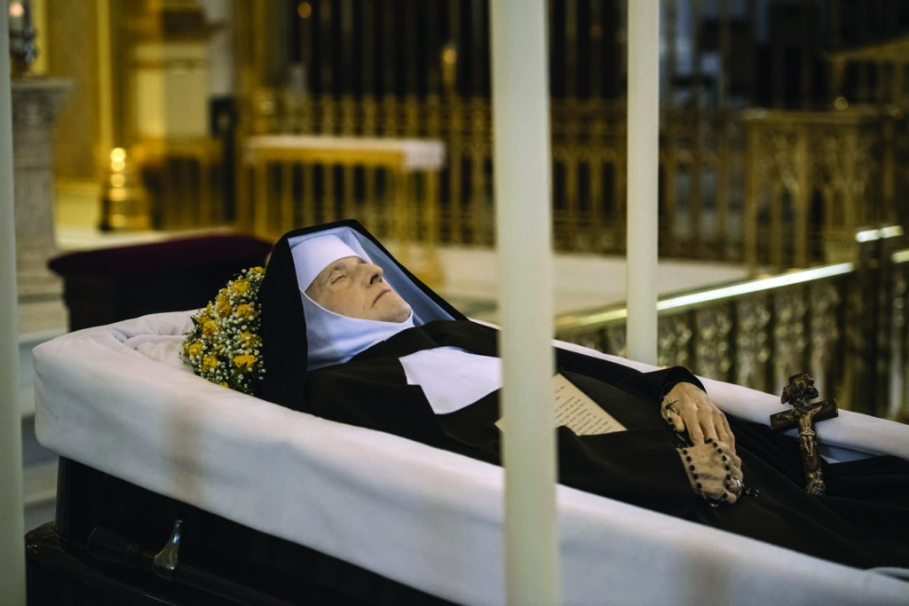 Mother Angelica lies in repose March 29 at the the Shrine of the Most Blessed Sacrament in Hanceville, Ala. Mother Angelica, who founded the Eternal Word Television Network and turned it into one of the world's largest religious media operations, died March 27 at age 92. (CNS photo/Jeff Bruno, EWTN) See OBIT-MOTHER-ANGELICA March 28, 2016, and MOTHER-ANGELICA-DEATH-REACT March 30, 2016.