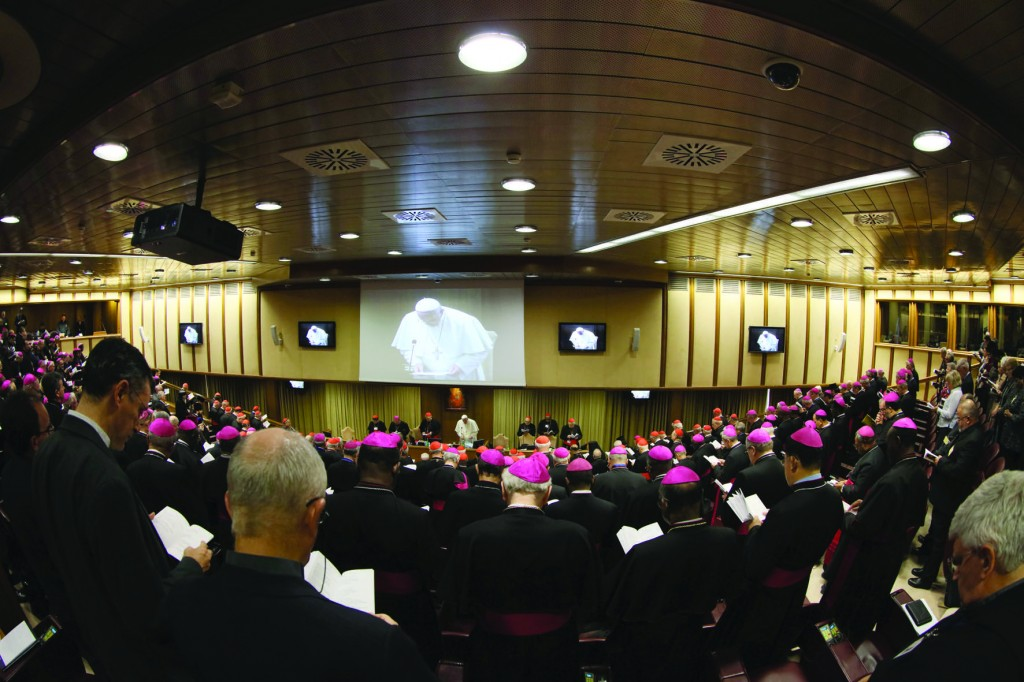 15/10/2015 Synod Hall, Vatican City. Works of the XIV General Assembly of the Synod of Bishops at the presence of Pope Francis.