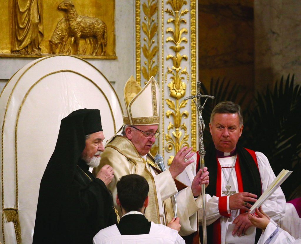 25/01/2016 Rome. Solemnity of the Conversion of Saint Paul the Apostle. Celebration of Vespers led by Pope Francis in the Basilica of St. Paul Outside-the-Walls. Orthodox Archbishop of Italy and Malta Gennadios Zervos and the Director of the Anglican Centre in Rome David Moxon.