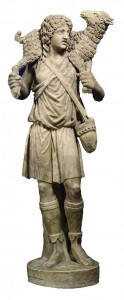 The top portion, above the knees, of this statue of the Good Shepherd is a fragment from a fourth-century sarcophagus. Artisans made the statue in the 18th century, adding legs and part of the arms. The pagan image of the shepherd with a lamb on his shoulders was used frequently to decorate the front of sarcophagi since Christians saw in it the Good Shepherd of the Gospels, Christ. The statue is on display in the early Christian funerary art gallery, called the Pio Christian Museum, at the Vatican Museums. (CNS photo from Vatican Museums) (Sept. 30, 2005) See VATICAN LETTER Sept. 30, 2005.