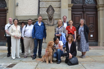 In front of St. Osvald's Church in Traunstein where Joseph celebrated first Mass- Photo by Michael Hesemann