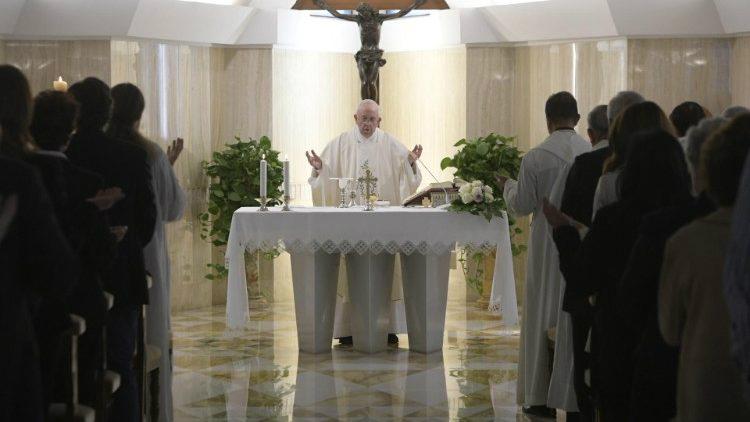 Pope Francis celebrates Mass at Casa Santa Marta  (Vatican Media)
