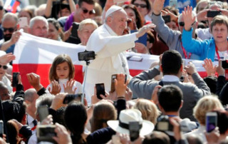 Pope Francis at the weekly General Audience in the Vatican, May 22, 2020.