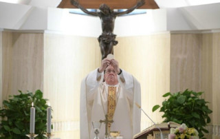 Pope Francis celebrates Mass at the Casa Santa Marta (Vatican Media)