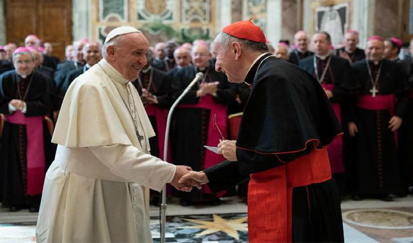 Pope Francis greets Cardinal Pietro Parolin, Vatican Secretary of State