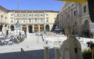 Pope Francis celebrates Mass and recites the Angelus in Camerino, Italy (Vatican Media)